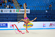 Ruprecht Nicol during qualifying at ribbon in Pesaro World Cup at Adriatic Arena on April 11, 2015. Nicol born on October 2, 1992 in Innsbruck. She is a rhythmic gymnast member of the Austria National Team.
