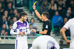 Aleksander Rajcevic of NK Maribor receive yellow card during football match between NK Olimpija Ljubljana and NK Maribor in 1st leg match in Quaterfinal of Slovenian cup 2017/2018, on November 11, 2017 in SRC Stozice, Ljubljana, Slovenia.  Photo by Ziga Zupan / Sportida