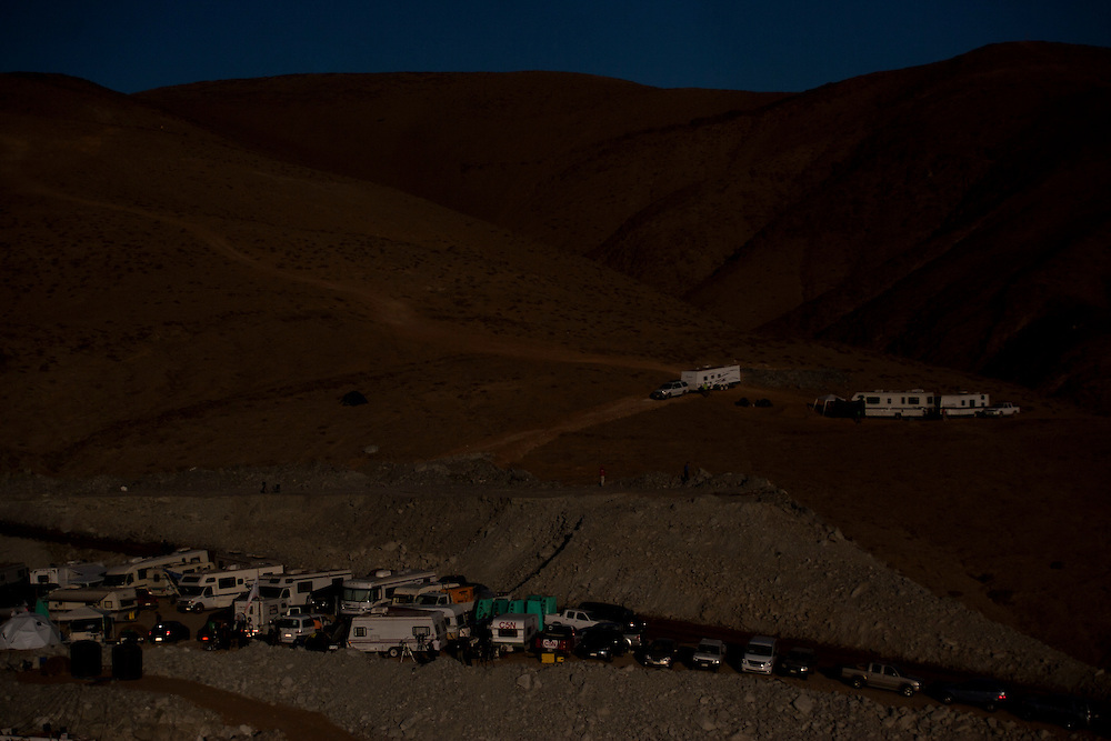 """general view of media camp next to San Jose Mine. From August 5th, 33 miners are trapped after a cave-in at San Jose Mine in the north of Chile. 17 days after these miners were discovered, alive. More of two months after they will be rescue. All this time some families stay out side the mine borders waiting for news and theses parents, the past of the days gives place a little town knows as """"Camp Hope""""."""