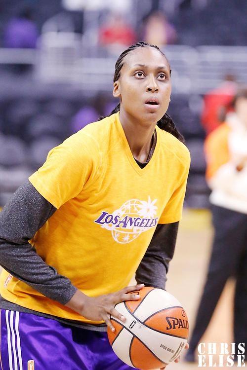 17 June 2014: Los Angeles Sparks forward/center Sandrine Gruda (7) warms up prior to the Minnesota Lynx  94-77 victory over the Los Angeles Sparks, at the Staples Center, Los Angeles, California, USA.