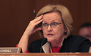 Senator Claire McCaskill, D MO asks a question at a hearing on Goldman Sachs before the Senate Subcommittee on Homeland Security and Government Affirs. Photograph by Dennis Brack
