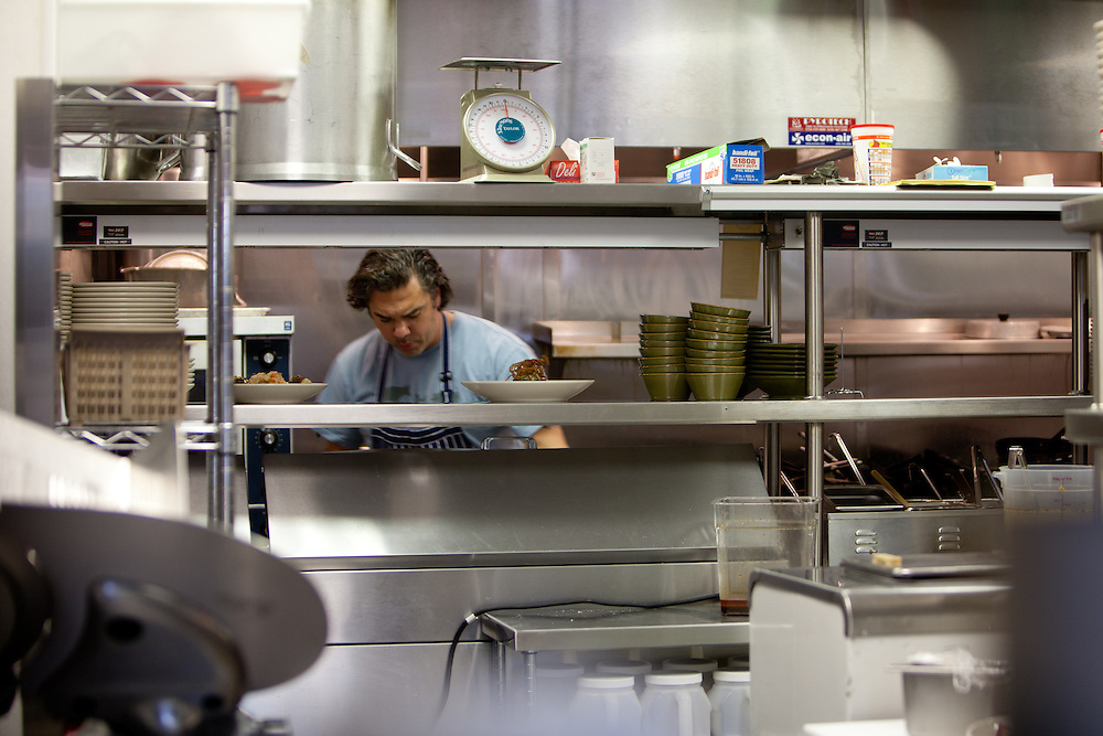 Chef Marc del Pietro working the line in his restaurant The Block in St. Louis.