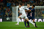Gareth Bale of Real Madrid and Thomas Meunier, Marquinhos of Paris Saint-Germain during the UEFA Champions League football match, Group A, played between Real Madrid and Paris Saint-Germain at Santiago Bernabéu Stadium on November 26, 2019, in Madrid, Spain.