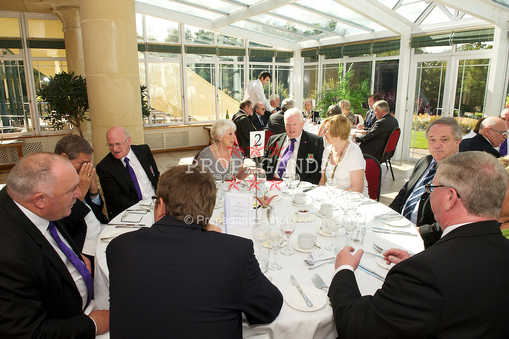 CARDIFF, WALES - Wednesday, September 9, 2009: Football Association of Wales council members attend a lunch with FIFA President Joseph Sepp Blatter after the opening of the Wales national team training pitch ahead of the FIFA World Cup Qualifying Group 3 match against Russia. (Pic by David Rawcliffe/Propaganda)
