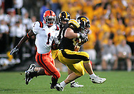 08 SEPTEMBER 2007: Iowa linebacker Mike Humpal (44) catches an interception Iowa's 35-0 win over Syracuse at Kinnick Stadium in Iowa City, Iowa on September 8, 2007.