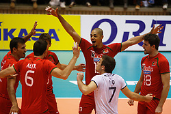 01-09-2012 VOLLEYBAL: WORLD LEAGUE 2013 QUALIFICATION NETHERLANDS - PORTUGAL : ROTTERDAM<br /> The players of Portugal celebrate a point