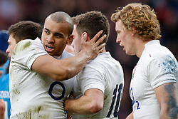 England Outside Centre Jonathan Joseph celebrates scoring a try with with Bath Rugby club team mate George Ford - Photo mandatory by-line: Rogan Thomson/JMP - 07966 386802 - 14/02/2015 - SPORT - RUGBY UNION - London, England - Twickenham Stadium - England v Italy - 2015 RBS Six Nations Championship.