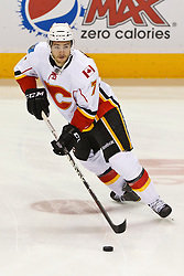 Jan 17, 2012; San Jose, CA, USA; Calgary Flames defenseman T.J. Brodie (7) warms up before the game against the San Jose Sharks at HP Pavilion. San Jose defeated Calgary 2-1 in shootouts. Mandatory Credit: Jason O. Watson-US PRESSWIRE