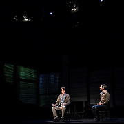 February 10, 2016 - New York, NY : From left, Michael Cumpsty and Michael Crane perform in a dress rehearsal for the Primary Stages production of Dan O'Brien's 'The Body of an American' at the Cherry Lane Theatre in Manhattan on Wednesday afternoon.  CREDIT: Karsten Moran for The New York Times