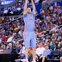 06 April 2014: Los Angeles Lakers forward Ryan Kelly (4) takes a jumpshot during the Los Angeles Clippers 120-97 victory over the Los Angeles Lakers at the Staples Center, Los Angeles, California, USA.