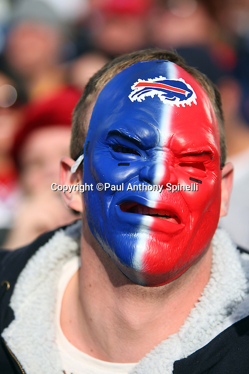 Buffalo Bills fan with a face mask looks on during the NFL football game against the Houston Texans, November 1, 2009 in Orchard Park, New York. The Texans won the game 31-10. (©Paul Anthony Spinelli)