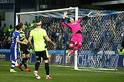 Sheffield close to scoring late in the game as the ball beats Huddersfield Town goalkeeper, on loan from Liverpool, Danny Ward (1) but goes over the bar during the EFL Sky Bet Championship play off second leg match between Sheffield Wednesday and Huddersfield Town at Hillsborough, Sheffield, England on 17 May 2017. Photo by John Potts.