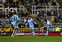 Photo: Andrew Unwin.<br /> Newcastle United v Celta Vigo. UEFA Cup. 23/11/2006.<br /> Celta Vigo's Fabian Canobbio Bentaberry (R) scores his team's first goal.