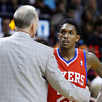 21 January 2012: Philadelphia Sixers point guard Lou Williams (23) listens to Philadelphia Sixers head coach Doug Collins during the Miami Heat 113-92 victory over the Philadelphia Sixers at the AmericanAirlines Arena, Miami, Florida, USA.