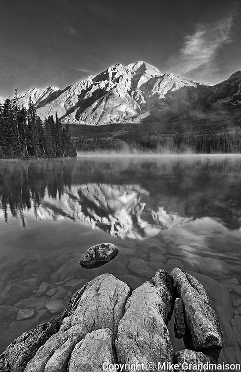 Pyramid Mountain reflected in Pyramid Lake at sunrise, Jasper National Park, Alberta, Canada<br />