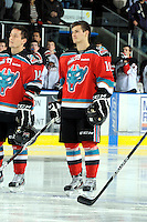 KELOWNA, CANADA, OCTOBER 26:  Filip Vasko #10 of the Kelowna Rockets lines up as the Prince George Cougars visit the Kelowna Rockets  on October 26, 2011 at Prospera Place in Kelowna, British Columbia, Canada (Photo by Marissa Baecker/Shoot the Breeze) *** Local Caption *** Filip Vasko;