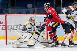 22.10.2016, Ice Rink, Znojmo, CZE, EBEL, HC Orli Znojmo vs Dornbirner Eishockey Club, 13. Runde, im Bild v.l. Florian Hardy (Dornbirner) Patrik Novak (HC Orli Znojmo) Olivier Magnan (Dornbirner) // during the Erste Bank Icehockey League 13th round match between HC Orli Znojmo and Dornbirner Eishockey Club at the Ice Rink in Znojmo, Czech Republic on 2016/10/22. EXPA Pictures © 2016, PhotoCredit: EXPA/ Rostislav Pfeffer