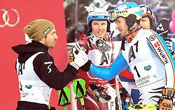 26.01.2016, Planai, Schladming, AUT, FIS Weltcup Ski Alpin, Schladming, Slalom, Herren, 2. Durchgang, im Bild v.l.: Marcel Hirscher (AUT, 2. Platz), Sieger Henrik Kristoffersen (NOR), Felix Neureuther (GER) und Alexander Khoroshilov (RUS, 3. Platz) // f.l.t.r: 2nd placed Marcel Hirscher of Austria, Winner Henrik Kristoffersen of Norway, Felix Neureuther of Germany and 3rd placed Alexander Khoroshilov (RUS) reacts after his 2nd run of men's Slalom Race of Schladming FIS Ski Alpine World Cup at the Planai in Schladming, Austria on 2016/01/26. EXPA Pictures © 2016, PhotoCredit: EXPA/ Erich Spiess