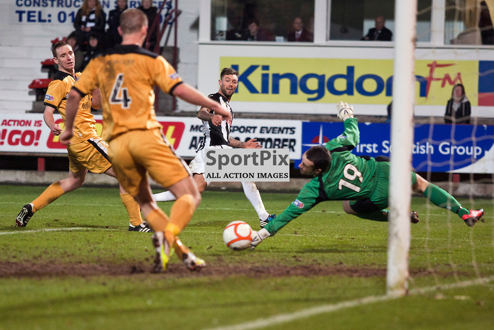 Jordan McMillan's shot (Dunfermline) could have made it 5-0 for Dunfermline. Dunfermline v Dumbarton Scottish Division 1 Saturday 24 November 2012. (c) Russell Sneddon | StockPix.eu