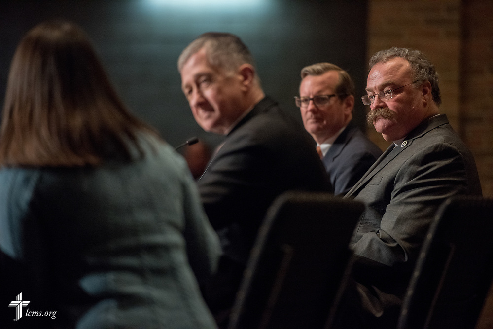 Presenters including the Rev. Dr. Matthew C. Harrison, president of the LCMS, participate in The Reformation at 500: An Interdenominational Conversation, on Monday, Oct. 30, 2017, at Chapel of Our Lord at Concordia University Chicago in River Forest, Ill. Other featured presenters were Cardinal Blase J. Cupich, Archdiocese of Chicago, and the Rev. Dr. Philip Ryken, president of Wheaton College. The moderator was Manya Brachear Pashman, religion correspondent for the Chicago Tribune. LCMS Communications/Erik M. Lunsford
