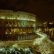A panoramic view of The Colosseum at night. The Colosseum is an elliptical amphitheatre in the centre of the city of Rome, Italy, the largest ever built in the Roman Empire. It is considered one of the greatest works of Roman architecture and Roman engineering. Rome, Italy. 23rd July 2011. Photo Tim Clayton