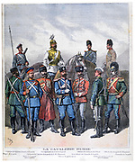 Russian cavalry from the lowest to the highest ranks.  From 'Le Petit Journal', Paris, 9 April 1892. Military, Army, Soldier