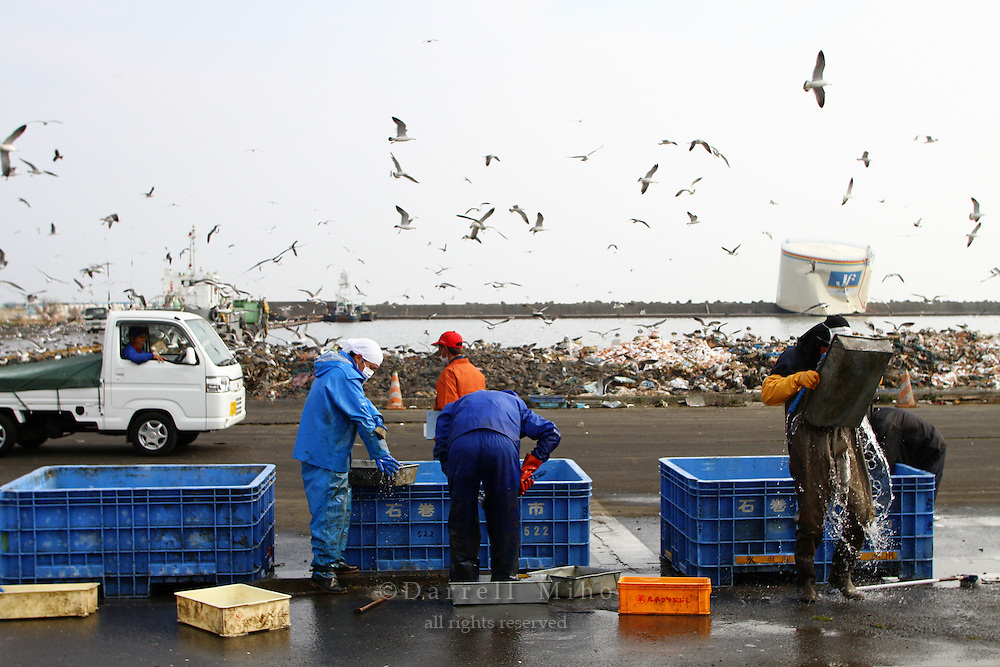 May 17, 2011; Ishinomaki, Miyagi Pref., Japan - Workers rinse off toxic sludge after cleaning up parts of Ishinomaki that were damaged after the magnitude 9.0 Great East Japan Earthquake and Tsunami that devastated the Tohoku region of Japan on March 11, 2011.