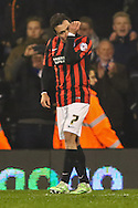 Adri&aacute;n Colunga of Brighton and Hove Albion kisses his wrist after scoring the opening goal against Fulham during the Sky Bet Championship match at Craven Cottage, London<br /> Picture by David Horn/Focus Images Ltd +44 7545 970036<br /> 29/12/2014