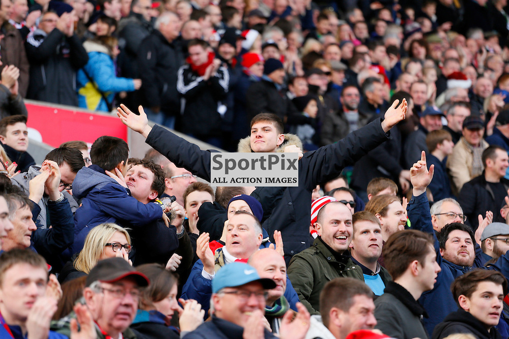 Stoke fans celebrate going 2-0 up during Stoke City v Manchester United, Barclays Premier League, Saturday 26th December 2015, Britannia Stadium, Stoke