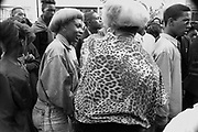 Two women with matching hairstyles, Notting Hill Carnival, London, 1989