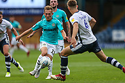 Forest Green Rovers George Williams(11) takes on Bury's Will Aimson during the EFL Sky Bet League 2 match between Bury and Forest Green Rovers at the JD Stadium, Bury, England on 18 August 2018.