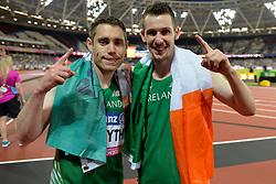 16/07/2017 : Jason Smyth, (IRL), Michael McKillop, Gold Medal Winners, at the 2017 World Para Athletics Championships, Olympic Stadium, London, United Kingdom