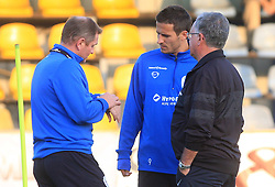 Head coach of Slovenia Matjaz Kek with Zlatan Ljubijankic (9) and dr. Vasja Kruh at practice of Slovenian men National team, on October 13, 2008, in Domzale, Slovenia.  (Photo by Vid Ponikvar / Sportal Images)