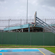 JULY 19, 2018----BAYAMON, PUERTO RICO---<br /> Basketball court and razor sharp wired fences in the Bayamon Correctional Complex which is made up of four buildings. The Puerto Rico Corrections and Rehabilitation Department is in the middle of a project to downsize by transferring inmates to private jails in the United States and closing institutions like this.<br /> (Photo by Angel Valentin/Freelance)