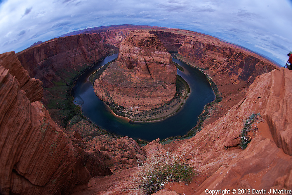 Horseshoe Bend, Arizona. Image taken with a Nikon D4 and 16 mm f/2.8 fisheye lens (ISO 100, 16 mm, f/11, 1/200 sec). Camera mounted on a monopod held out over the cliff. Nikonians ANPAT-13 on a day that the National Parks were closed.