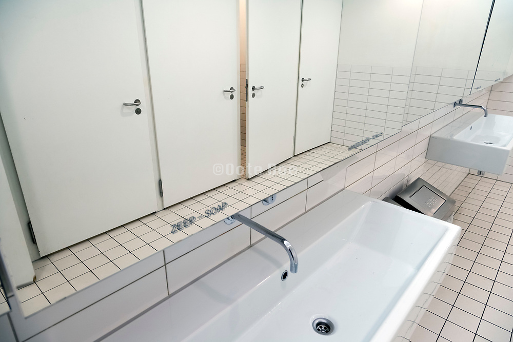 clean white public restroom