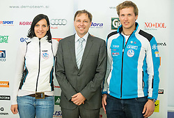 Lana Grandovec, dr. Blaz Lesnik and Blaz Pecuh of ZUTS during official presentation of the outfits of the Slovenian Ski Teams before new season 2015/16, on October 6, 2015 in Kulinarika Jezersek, Sora, Slovenia. Photo by Vid Ponikvar / Sportida