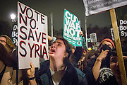 UNITED KINGDOM, London: 02 December 2015 A young lady cries at the result of the decision to go ahead and bomb Syria after a historic Commons vote. Thousands of people gathered in Parliament Square this evening as part of a Stop The War campaign. Protesters have gathered outside Parliament for a second night as they await the result of a vote on UK air strikes in Syria. <br /> Rick Findler / Story Picture Agency