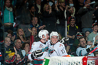 KELOWNA, CANADA - MARCH 26: Cole Linaker #26 and Rodney Southam #17 of Kelowna Rockets celebrate a goal against the Kamloops Blazers on March 26, 2016 at Prospera Place in Kelowna, British Columbia, Canada.  (Photo by Marissa Baecker/Shoot the Breeze)  *** Local Caption *** Cole Linaker; Rodney Southam;