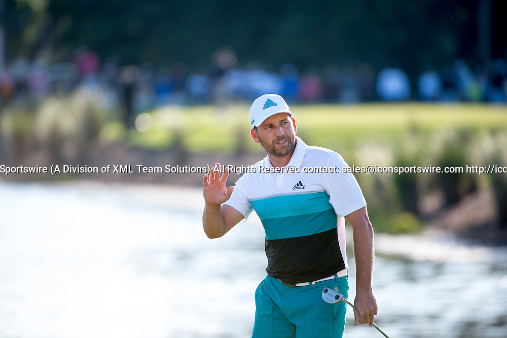 27 February 2016: Sergio Garcia waves to the fans during the third round of the Honda Classic at the PGA National Resort & Spa in Palm Beach Gardens, FL.
