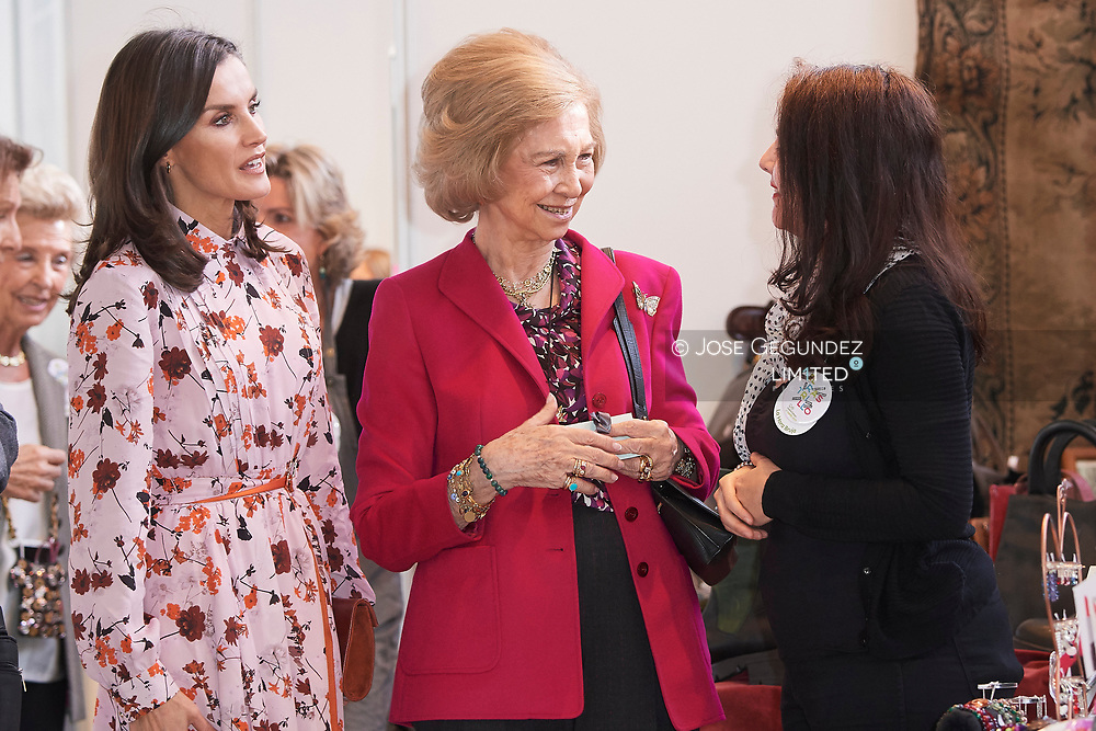 Queen Letizia of Spain, The former Queen Sofia attend 'Rastrillo Nuevo Futuro' on November 19, 2019 in Madrid, Spain