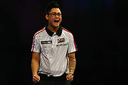 WINNER Rowby-John Rodriguez hits the double and celebrates during the Darts World Championship 2018 at Alexandra Palace, London, United Kingdom on 18 December 2018.