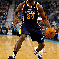 December 17, 2010; New Orleans, LA, USA; Utah Jazz power forward Paul Millsap (24) against the New Orleans Hornets during the first half at the New Orleans Arena.  Mandatory Credit: Derick E. Hingle