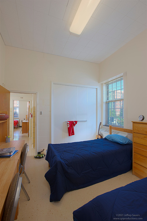 Architectural interior image of College Park MD dorm room at Elkton Hall at University of Maryland by Jeffrey Sauers of Commercial Photographics