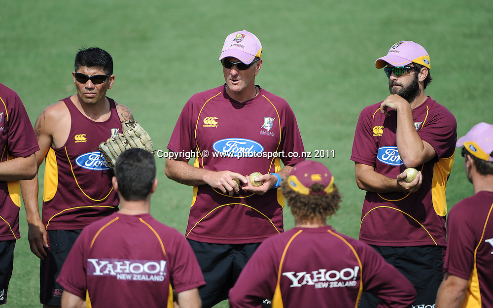 Northern coach Grant Bradburn talks to his players before the start of the HRV Twenty20 Cricket match between the Auckland Aces and Northern Knights at Colin Maiden Oval in Auckland on Monday 26 December 2011. Photo: Andrew Cornaga/Photosport.co.nz