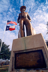Pleasanton's Cowboy statue commissioned by Austrian artist and sculptor John Tatschl. It was dedicated at the fifth annual Cowboy Homecoming on August 29, 1970.