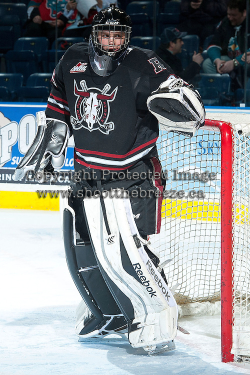 KELOWNA, CANADA -FEBRUARY 5: Patrik Bartosak G #35 of the Red Deer Rebels stands in net against the Kelowna Rockets on February 5, 2014 at Prospera Place in Kelowna, British Columbia, Canada.   (Photo by Marissa Baecker/Getty Images)  *** Local Caption *** Patrik Bartosak;