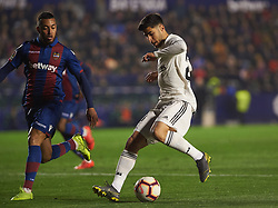 February 24, 2019 - Valencia, Valencia, Spain - Ruben Vezo of Levante UD and Marco Asensio of Real Madrid during the La Liga match between Levante and Real Madrid at Estadio Ciutat de Valencia on February 24, 2019 in Valencia, Spain. (Credit Image: © AFP7 via ZUMA Wire)