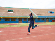 Olive Akobasenga is a sprinter and the first female to compete for Rwanda in the Paralympics. Here she is training at the National Stadium in KIgali. When she is not training or competing Olives likes to encourage other women to get involved in sport.