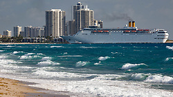 April 13, 2018 - Palm Beach, Florida, U.S. - The Grand Classica enters the Lake Worth Inlet to dock at the Port of Palm for it's first cruise Friday morning, April 13, 2018. The Grand Classica, a 1,680-passenger ship, will join its sister ship Grand Celebration at the Port of Palm Beach as it begins sailing from the port to Freeport, Bahamas on April 13. (Credit Image: © Allen Eyestone/The Palm Beach Post via ZUMA Wire)